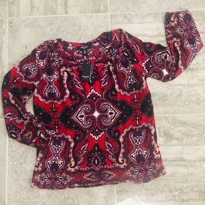 Nine West Biking Red Paisley Reflection Top S